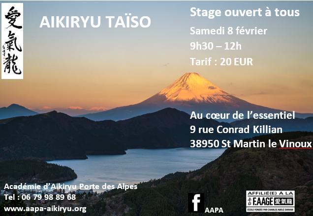 Stage Aïkiryu Taïso ouvert à tous Samedi 8 février 2020 de 9h30 à 12h
